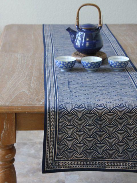 Rustic Navy Blue Table Runner, Asian Insipired Table Runner, Oriental Table  Runner, Cotton