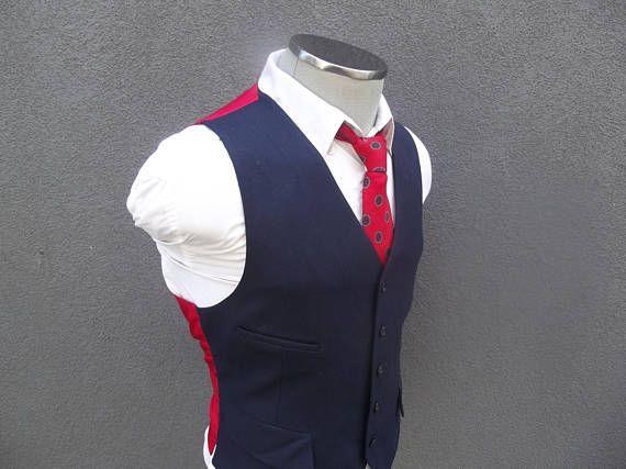 1970s Vintage Navy Blue Vest / Navy Wool Waistcoat 38 Medium /
