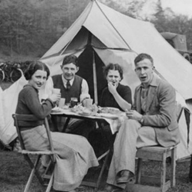 Vintage camping photo In the olden days, in the olden days ...