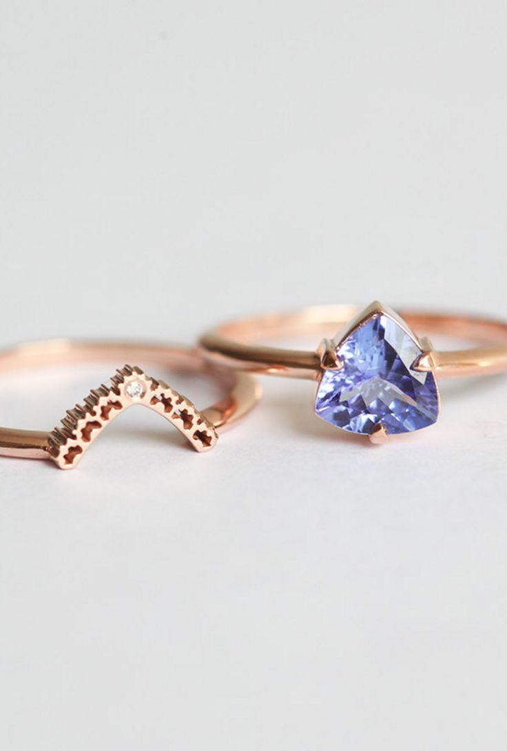 Rose Gold Engagement Ring, Tanzanite Engagement Ring, Tanzanite Wedding Ring  Set, Tanzanite Ring With Diamond Lace Band, Rose Gold Set