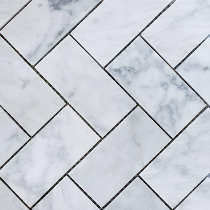 Designer Marble   Carrara Herringbone Mosaic Large