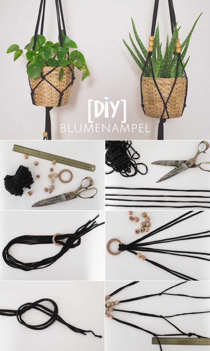 Simple Makramé flower jar of jersey yarn {DIY