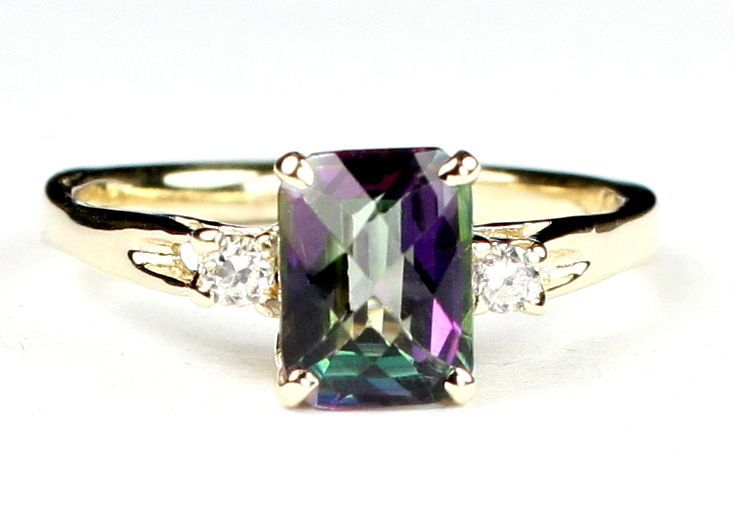 R171, Mystic Fire Topaz, 10KY Gold Ring #Handmade #SolitairewithAccents