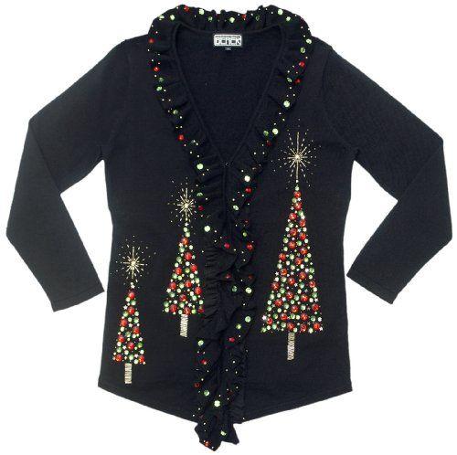 Amazon.com: Bubble Trees- Christmas Tree Cardigan Sweater: Clothing