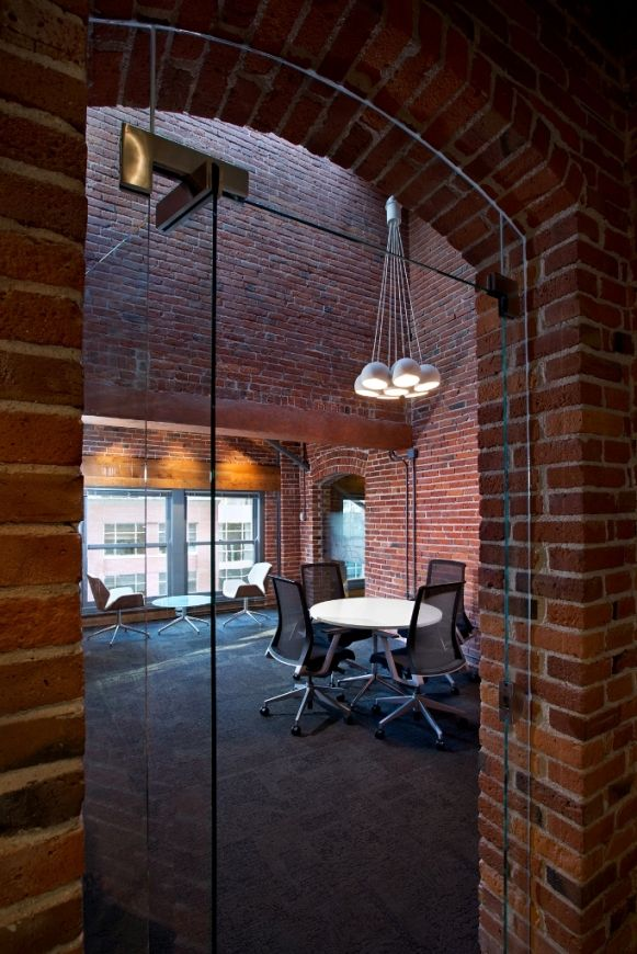 Very nice industrial style office interior design.
