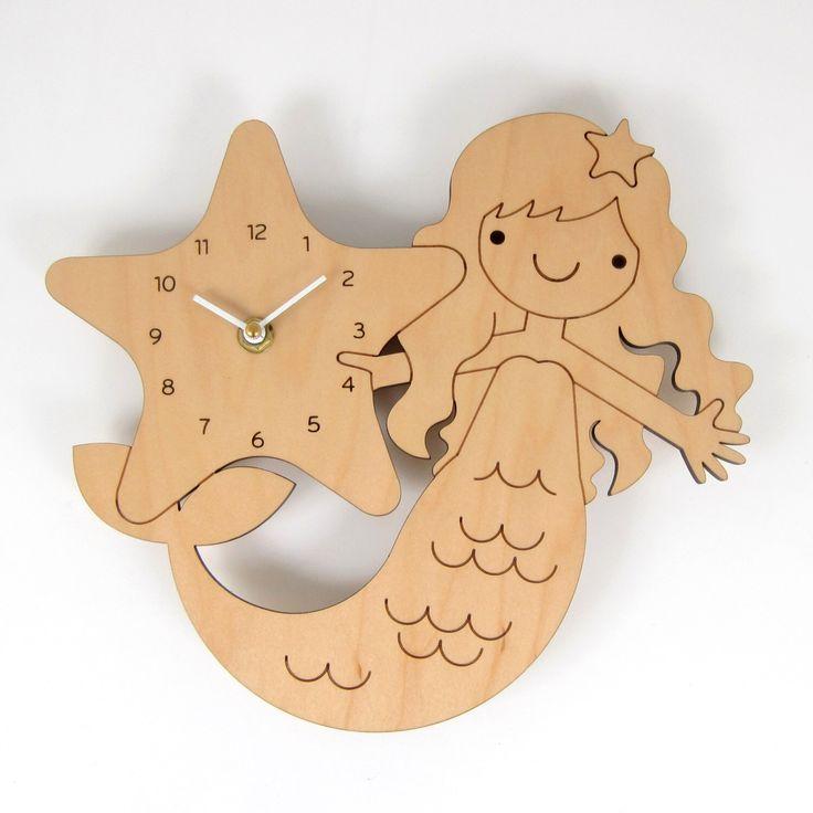 Wood Mermaid Clock Kids Wall Clock Ocean Nursery by graphicspaceswood on Etsy https://www.etsy.com/listing/205848103/wood-mermaid-clock-kids-wall-clock-ocean