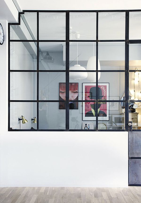 glass wall for between the study and the hall/ landing. Would allow light and a view through the doors in the living room. Add blinds if want to hide the mess!