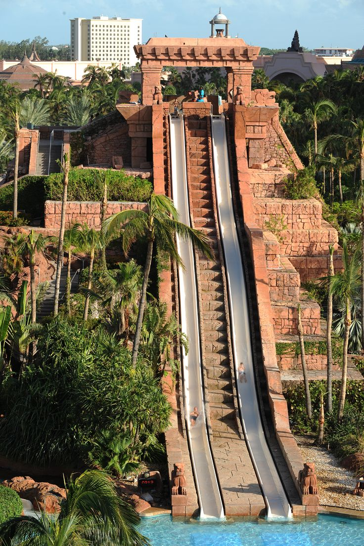 Take the plunge at the Atlantis resort in the Bahamas. Kids and kids at heart can race in a high-speed splashdown on the Challenger Slides.