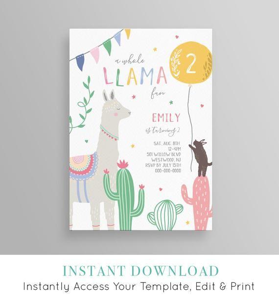 Llama Birthday Invitation Llama Fun Cactus Fiesta Birthday Etsy Party Invite Template Birthday Party Invitation Templates Birthday Invitations