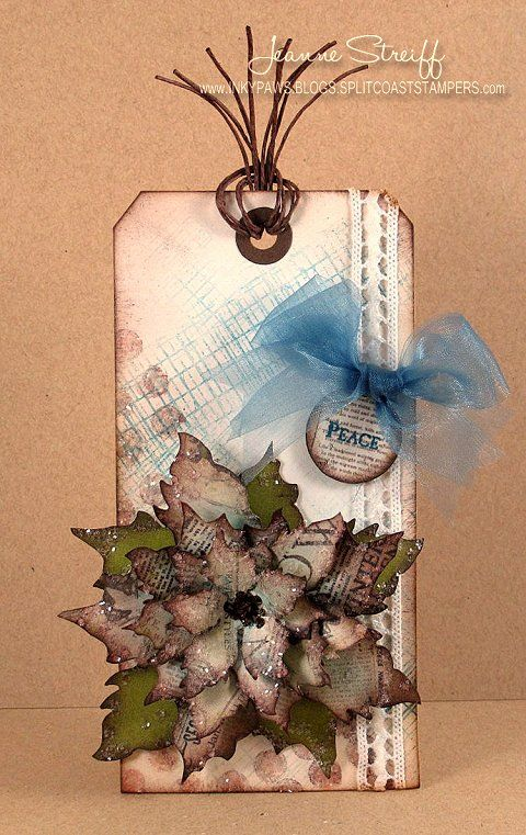 Jeanne Streiff Holiday Tag using the Tattered Poinsettia Die. http://inkypaws.blogs.splitcoaststampers.com/2012/12/02/challenge-chicks-holiday-tags-challenge/#: Christmas Cards Tags, Cards Christmas Poinsettia, Poinsettia Tags, Made Cards Tags, Tim Holtz Christmas Tags, Crafts Christmas Tags, Gifts Tags, Paper Crafts, Holidays Tags