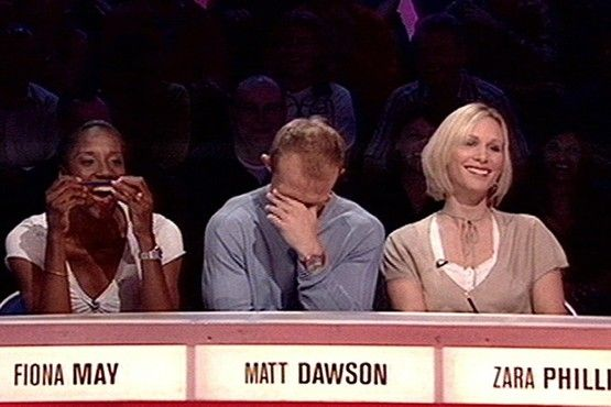 Zara Phillips appearing on the BBC programme Question of Sport, with team captain Matt Dawson and Fiona May in 2006