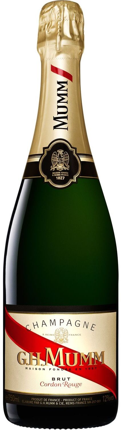 """Cordon Rouge"" 45 %Pinot Noir / 30% Chardonnay / 25% Pinot Meunier N/V espumoso Brut - G.H. Mumm, Champagne, Francia ----------------------- Terroir: Montagne de Reims (Champagne) - Francia ------------------ Método Champenoise"