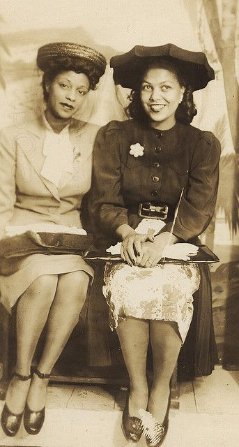 women dressed up to go out, circa 1940