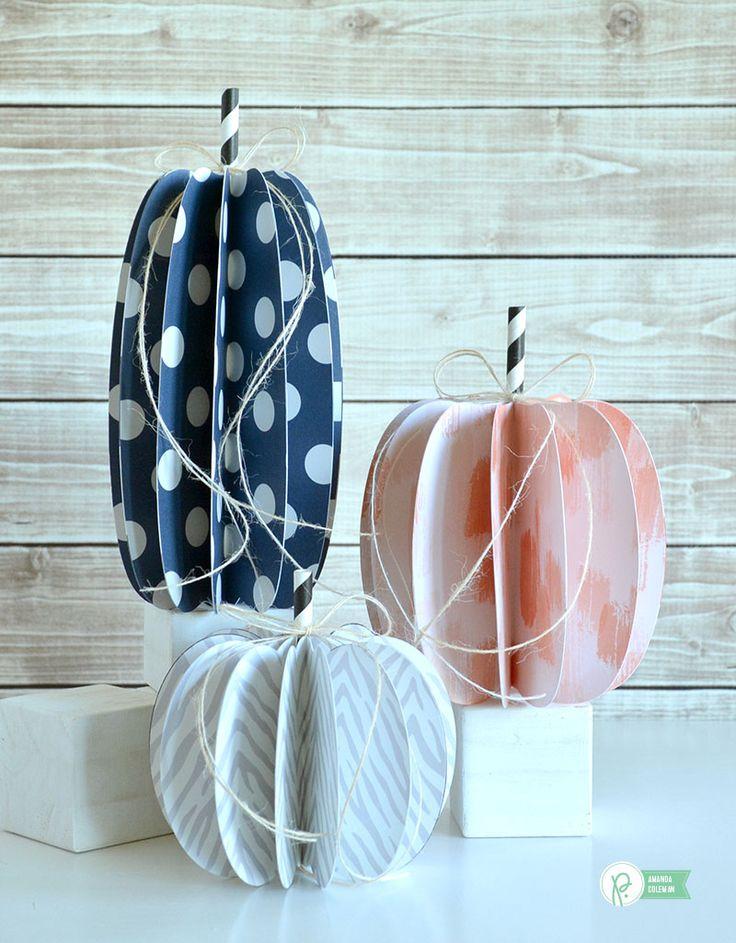 Easy 3D Paper Pumpkins by @amanda_coleman1 using @pebblesinc DIY Home collection