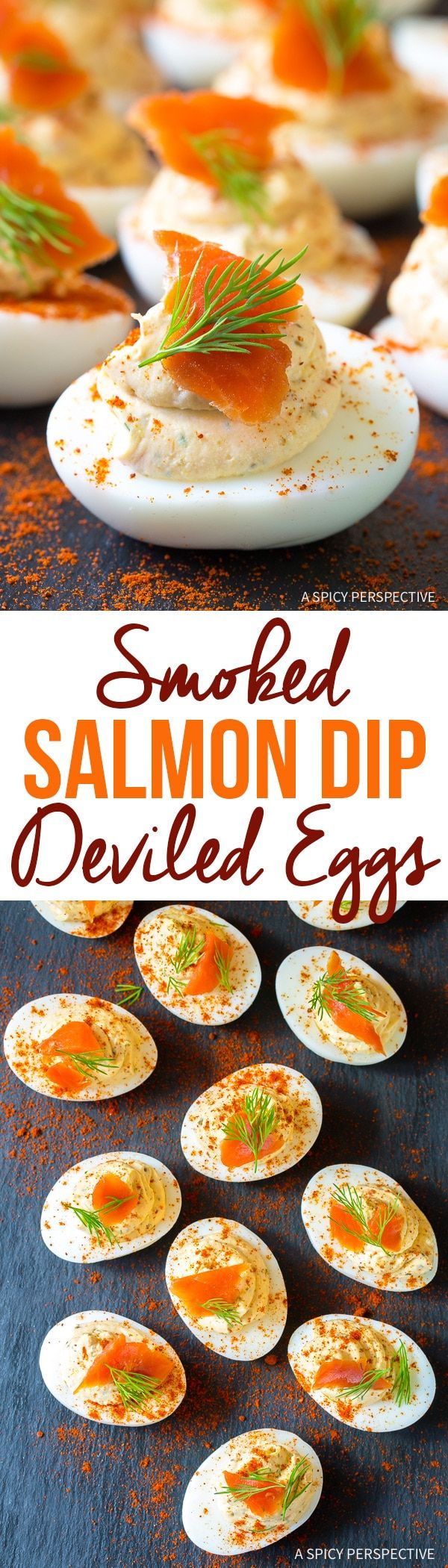Smoked Salmon Dip Deviled Eggs Recipe - A simple recipe combining the appeal of creamy smoked salmon dip and classic deviled eggs! via @spicyperspectiv