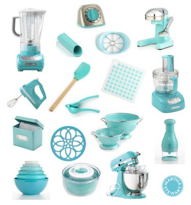 most are Martha Stewart for Kitchenaid 'Aqua Sky' collection.  Some Calypso and Cuisinart.