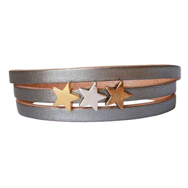 Armband Leder Sterren mix, LA123, zilver