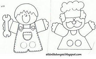 vingerpopjes / fingerpuppets - more finger puppet ideas - fingers go through holes to become legs for puppet