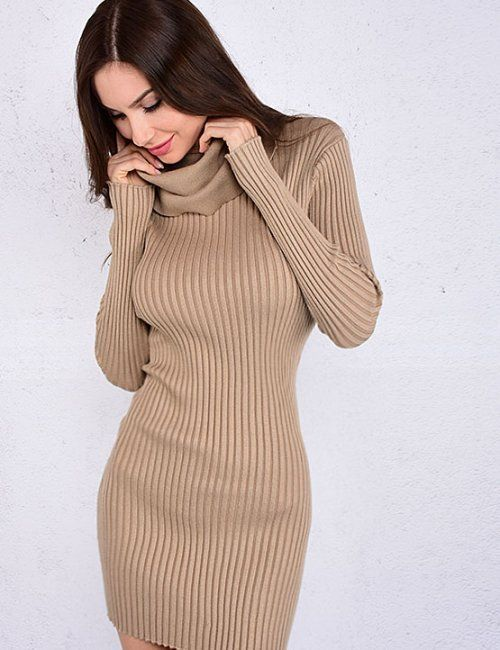 This knitted camel bodycon dress will look amazing with black knee highs and a trench coat