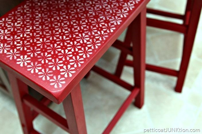 DIY Stenciled Flower Designed Stool Upcycle