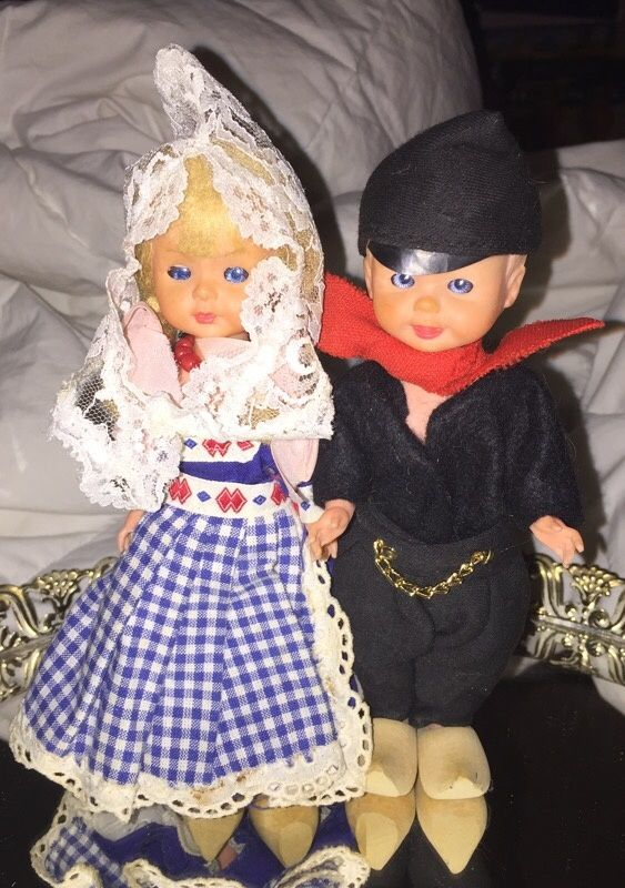 ️️️SALE thru SUNDAY $20   Look at all my listings. I have over 300 and lots of antiques.     One boy with carved wooden shoes One girl with carved wooden shoes   Both in EXCELLENT CONDITION