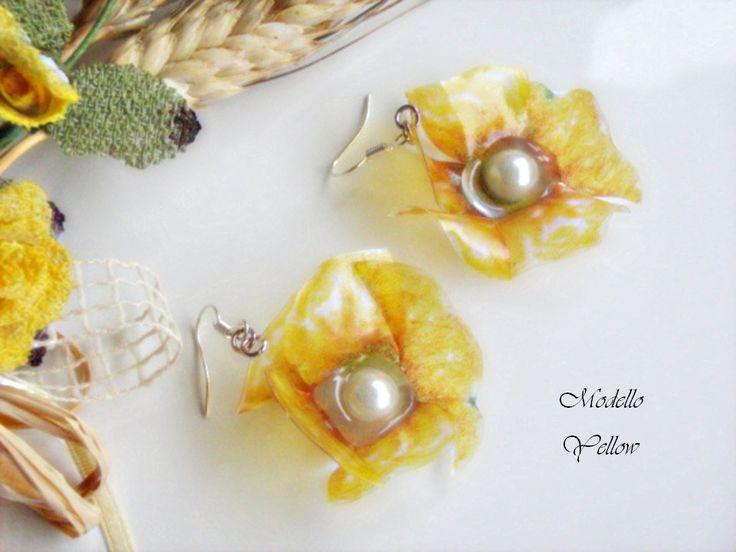 Orecchini con monachelle con pendenti fiore Papavero Giallo Sospeso Trasparente bijoux regalo, by Lady Bijoux Handmade, 8,00 € su misshobby.com