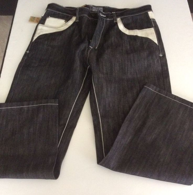 Russo Exclusive Underground Denim Mens Sz 38x32 Jeans Faux Leather Embellish NWT #Russo #BaggyLoose