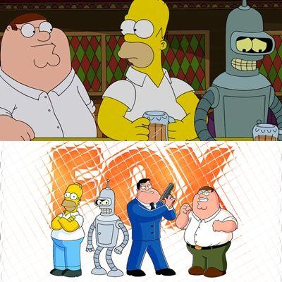Indo além da caixinha: Fandom Friday: Crossovers That Would Cause My Heart to Explode - Crossovers que faria com que meu coração para explodir Simpsons, Bender, Futurama, Family Guy, Familia da pesada, Homer,