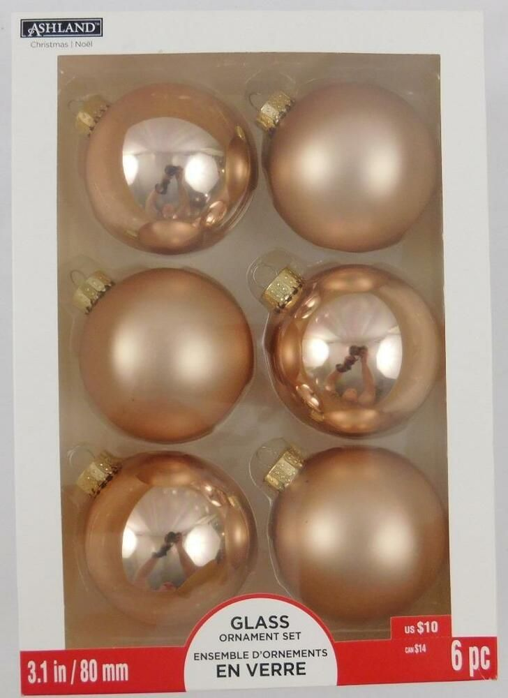 Ashland Glass Christmas Holiday Ornament Set New 6 Pc 3 1 In Rose Gold Ashland Ornament Set Christmas Holidays Xmas Tree Ornament