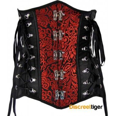 BLACK RED STEAMPUNK UNDERBUST CORSET his body hugging leaf embroidered corset is topped with criss cross and hook side details, large swing hooks on the front and flexible boning throughout.  @discreettiger #gothicclothing #swinghooks #steampunkfashion #corset http://www.discreettiger.com.au/corsets/underbust-corsets