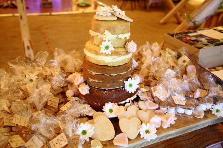 naked cake at tipi wedding