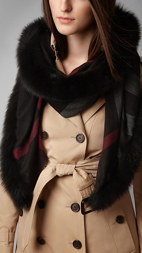 Fur Trim Cashmere Check Scarf | Burberry
