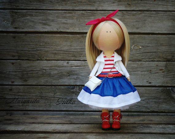 Art doll blonde blue red Handmade  by AnnKirillartPlace on Etsy