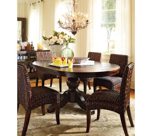 Seagrass chairsDining Rooms, Breakfast Nooks, Pedestal Tables, Kitchens Ideas, Round Tables, Dining Tables, Wicker Chairs, Pottery Barns, Seagrass Chairs