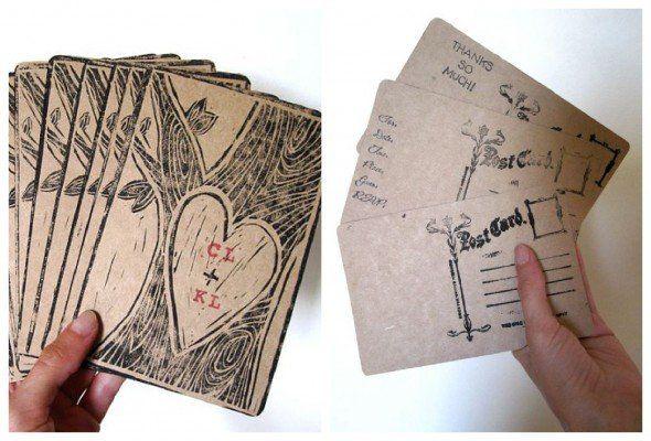 woodgrain postcards