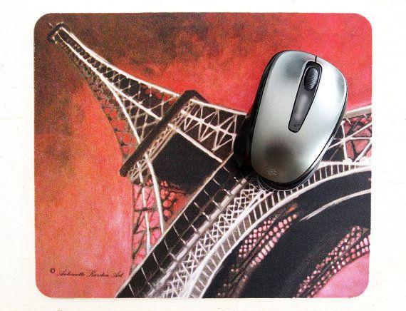 Eiffel tower mouse pad, unique design, original artwork, computer accessories, study decor