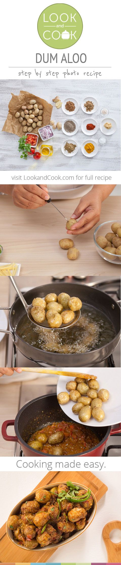 One of World's most #Delicious #Veggie #Dish ~ #Kashmiri DUM ALOO #RECIPE, Step by Step w/ Pics (where potatoes are deep fried (or air fried), then cooked slowly at a low flame in a succulent creamy gravy.)