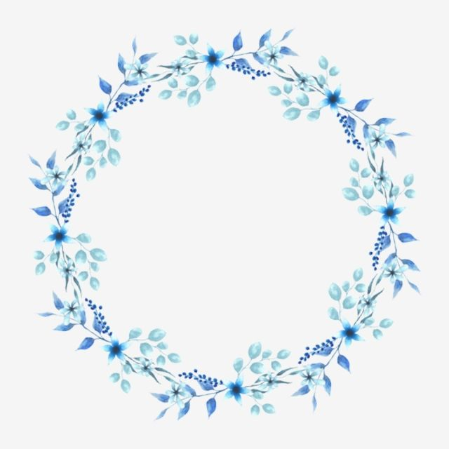 Watercolor Round Style Blue Floral Wreath Watercolor Clipart Wreath Watercolor Png Transparent Clipart Image And Psd File For Free Download Floral Wreath Watercolor Floral Border Design Blue Flower Wreath