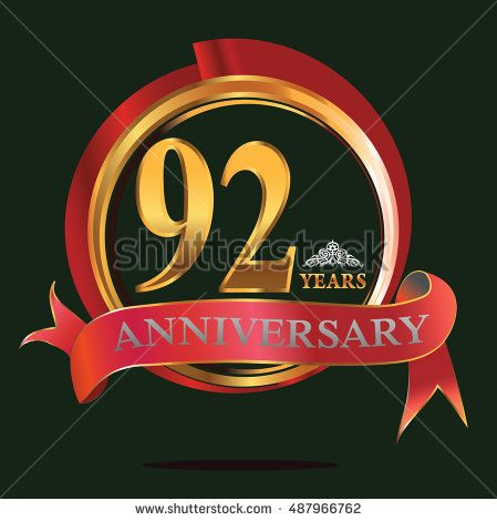 92 years golden anniversary logo with big red and gold ring. anniversary logo for birthday, celebration, wedding and party