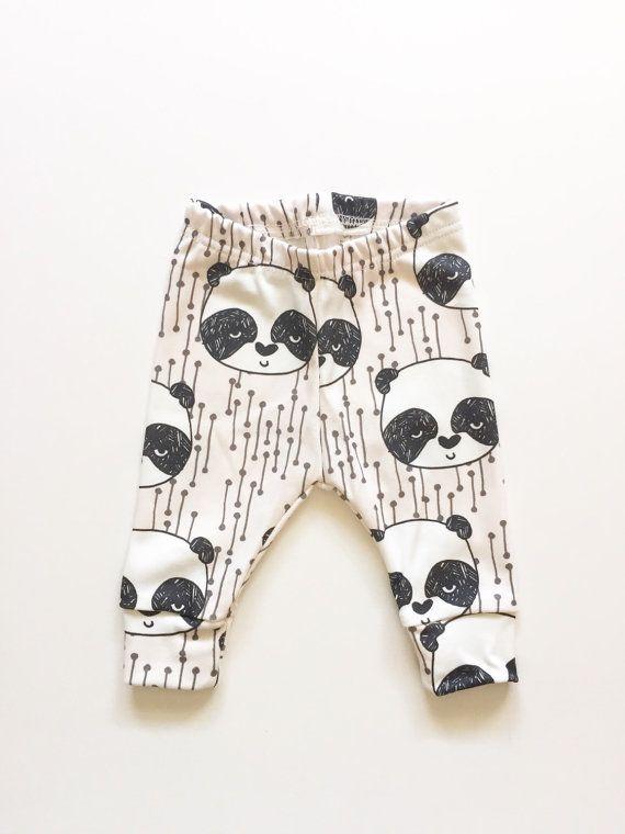 Organic baby leggings in panda bears baby by LolaandStella on Etsy