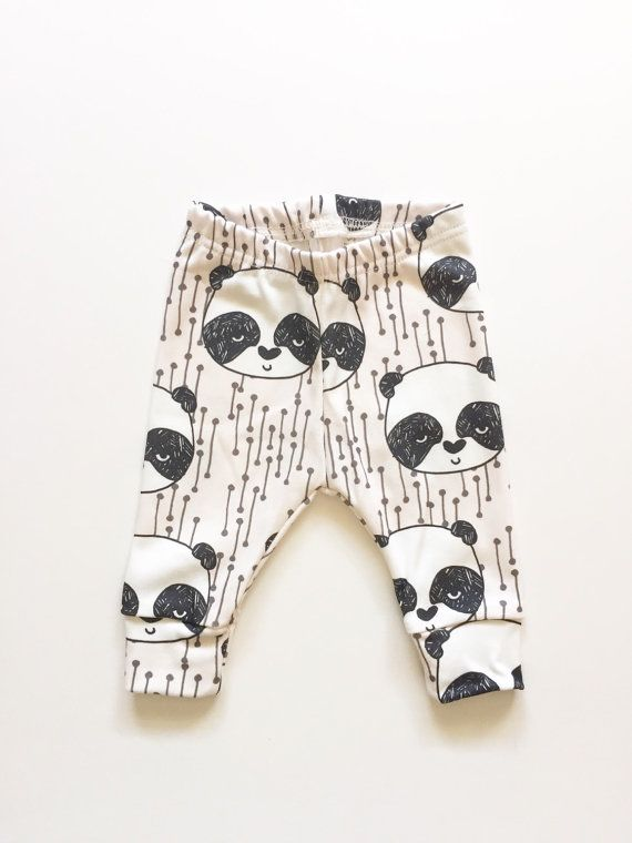 Organic baby leggings in panda bears baby by LolaandStella on Etsy