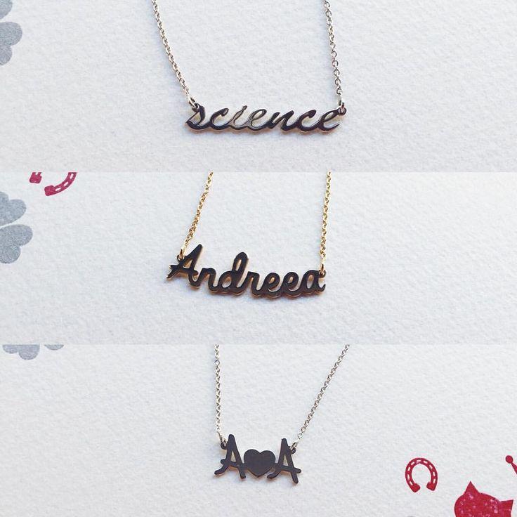 """Care este cuvântul tău favorit? """"Scrie-l"""" în aur. ❤️☺️ #lovebirdbijuterii, science, science necklace, personalized jewelry, bijuterii cu nume, colier cu nume, coliere personalizate, bijuterii lovebird"""