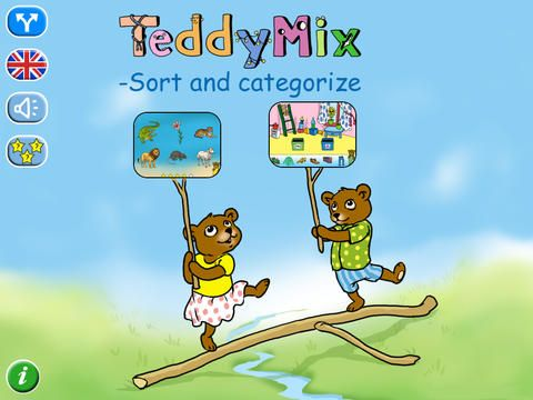 Teddy Mix 1 Sorting and categorizing app for early learners.