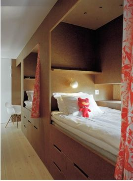 built-in bed niches with curtains in a summerhouse on Gotland