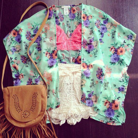 Mint floral kimono, floral kimono, bohemian kimono, kimono, chiffon cardigan, floral cardigan, gypsy wear, bohemian wear, bikini wrap on Etsy, $36.68 AUD
