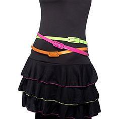 80er Jahre Damengürtel Neon Gürtel Damen 3 Set Frauengürtel 80er Jahre Accessoires Neongürtel Kostüm Zubehör