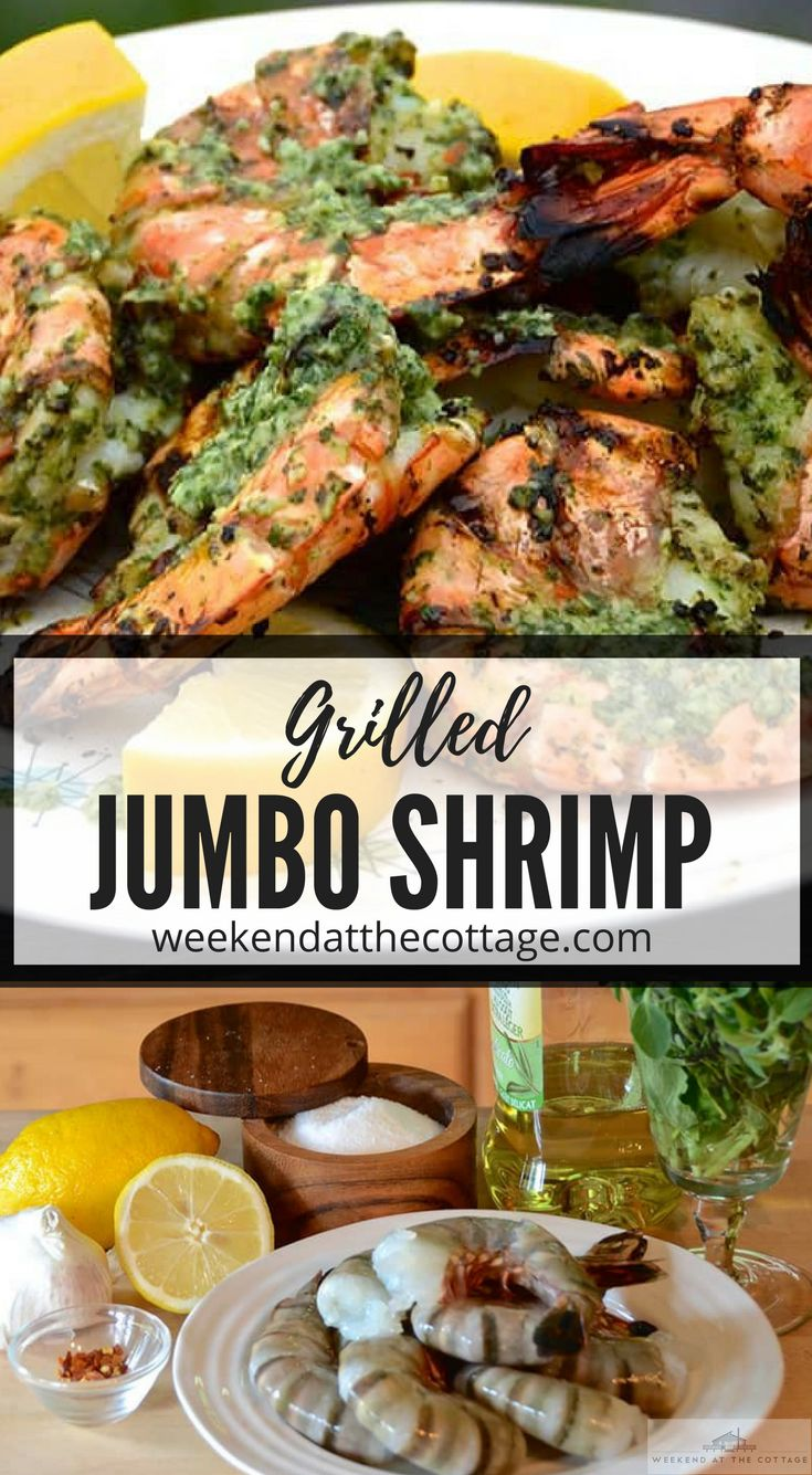 Grilled Jumbo Shrimp cooked to perfection, then brushed with a fresh garlic herb sauce. This easy BBQ recipe takes shellfish to a delicious new level. #grilledjumboshrimp #marinatedgrilledshrimp #grilled #bbq #easydinner
