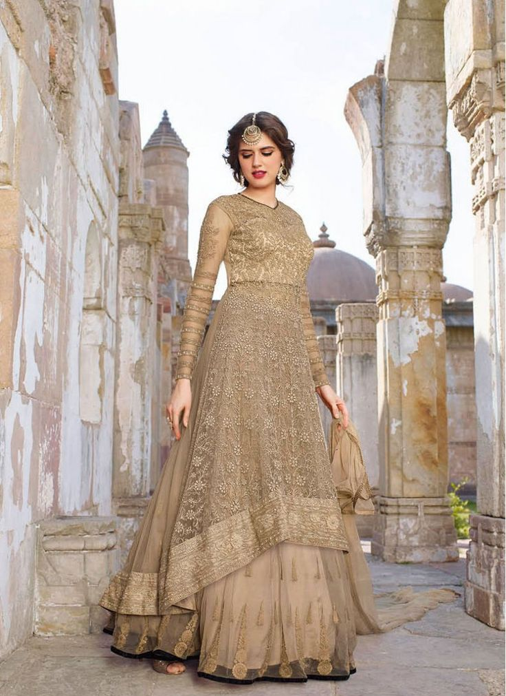 Ceremonial Beige Designer Floor Length Salwar Suit