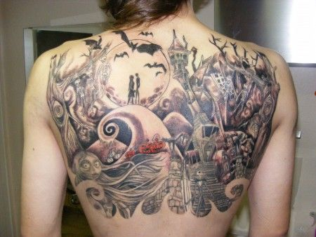 nightmare before christmas tattoo | back tattoo | New Tattoos | Tattoos