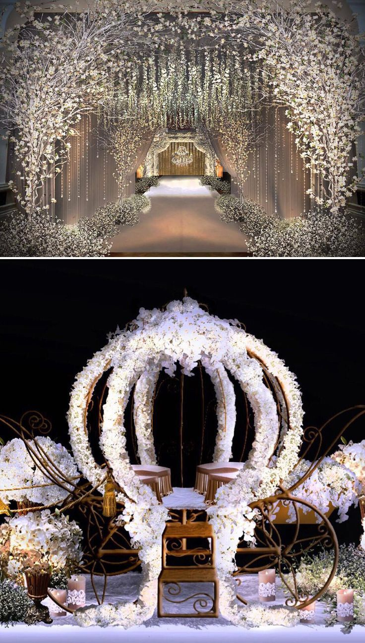 #Cherryblossom‬ magic from this luxurious soirée, where ‪#‎wedding‬ guests were treated to an awe-inspiring arch of white ‎sakura‬ and a fairytale carriage decorated with snowy blooms // White floral wedding decor inspiration